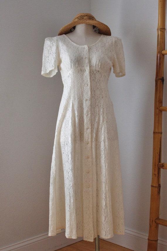 White Lace 90s Button Up Maxi Midi Dress