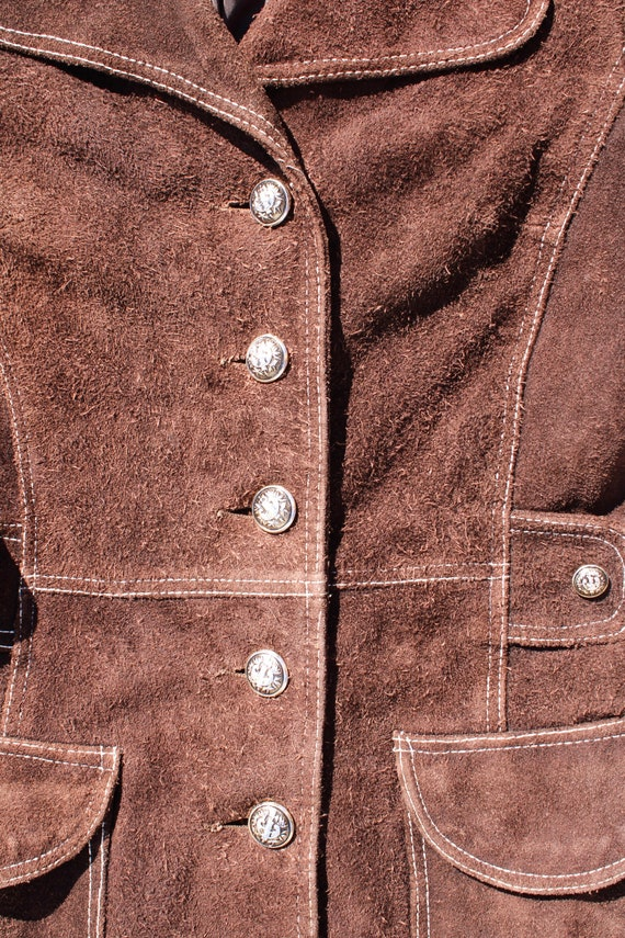 Carnaby Street Brown Suede and White Stitch Jacket - image 5