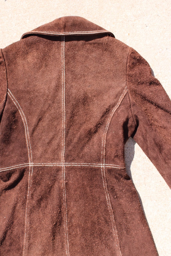 Carnaby Street Brown Suede and White Stitch Jacket - image 4