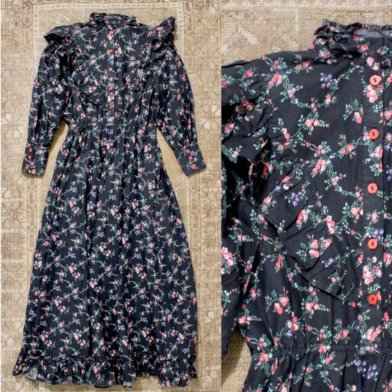 70s Black Ruffle Rose Maxi Garden Dress Prairie Gu