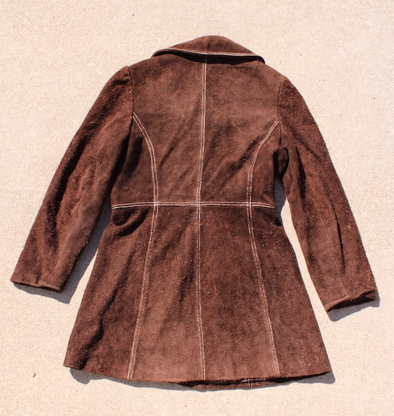 Carnaby Street Brown Suede and White Stitch Jacket - image 2