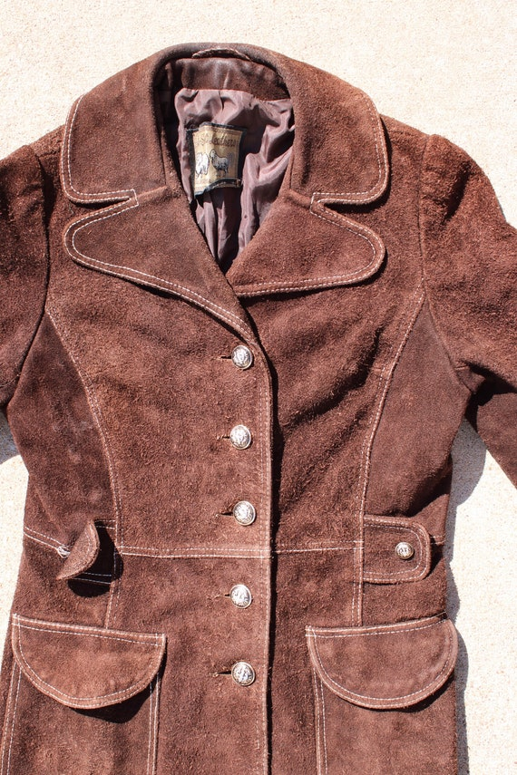 Carnaby Street Brown Suede and White Stitch Jacket - image 3
