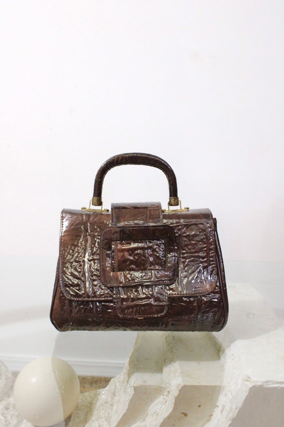 60s 70s 90s Faux Patent Leather Brown Textured Le… - image 1