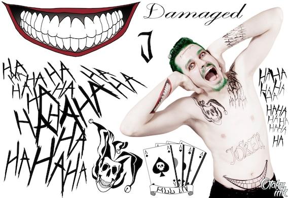 Suicide Squad Joker Tatouage Temporaire Par Otaku A Lencre Etsy