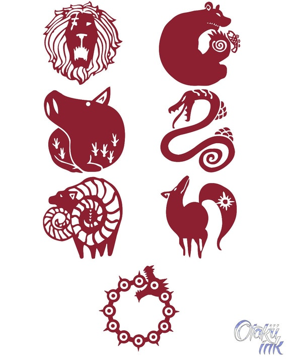 The Seven Deadly Sins Cosplay Temporary Tattoos By Otaku Ink Etsy