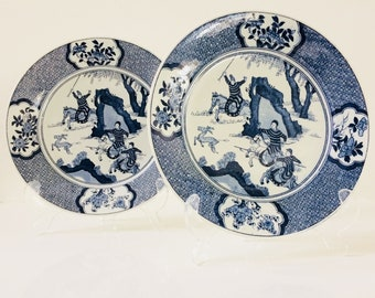 Dutch porcelain Petrus Regout Maastricht - two Kangxi style porcelain wall plates from 1910