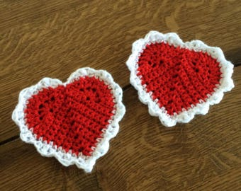 Crochet red and white heart coasters! Perfect bridesmaid gift!