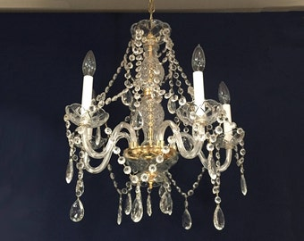 Vintage crystal chandelier Five glass arms Hollywood Regency mid century hanging chandelier Glam look with lots of crystals & crystal core
