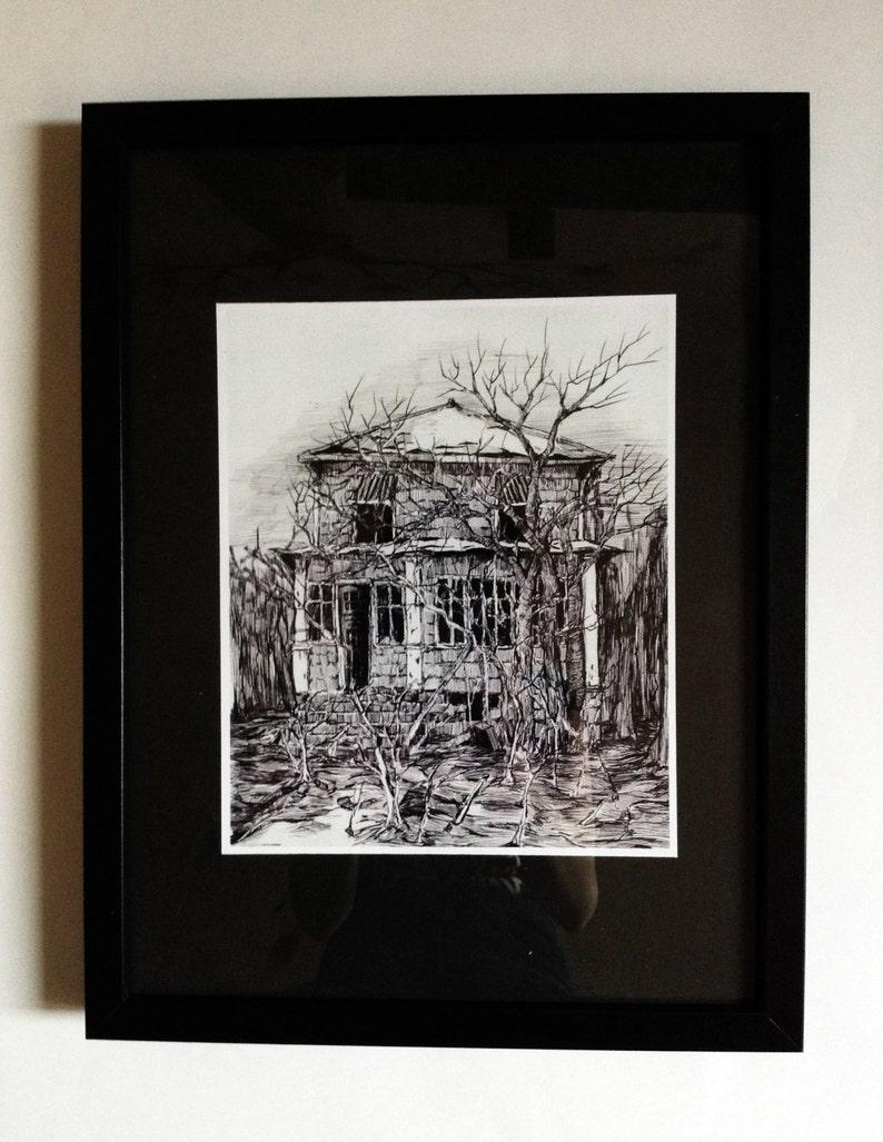 Dessin original de la maison abandonnée etsy