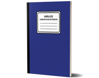Unruled Composition Notebook, Solid (Blue), Unlined Journal, 47A1977987745