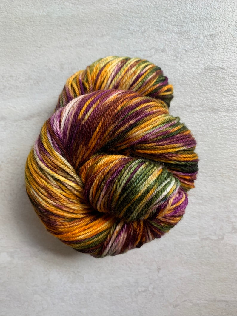 Hand dyed yarn fingering/DK/Worsted  Opulence  purple gold image 0