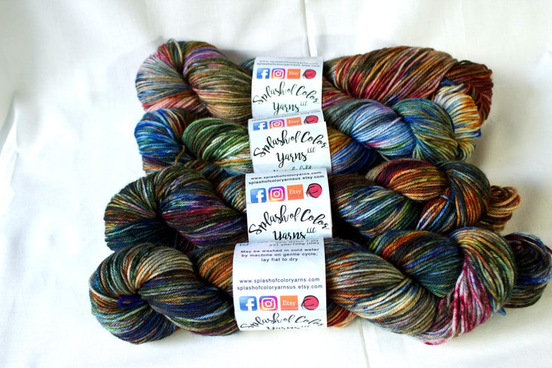 Hand dyed Fingering/DK/Worsted yarn  Autumn Speckles  blue image 0