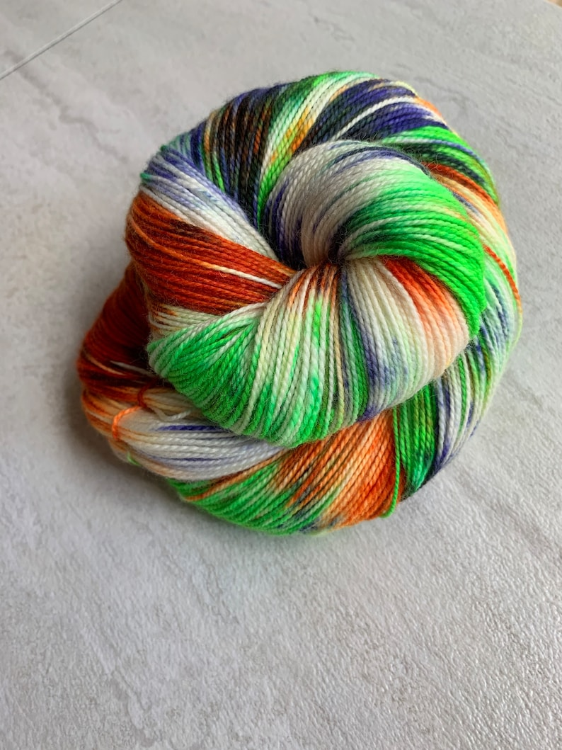 Hand dyed fingering/DK/worsted  Witches Brew  orange image 0