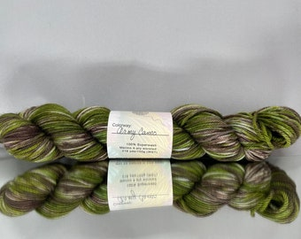 Hand dyed fingering/DK/worsted - Army Camo - military brown, sand and green colors