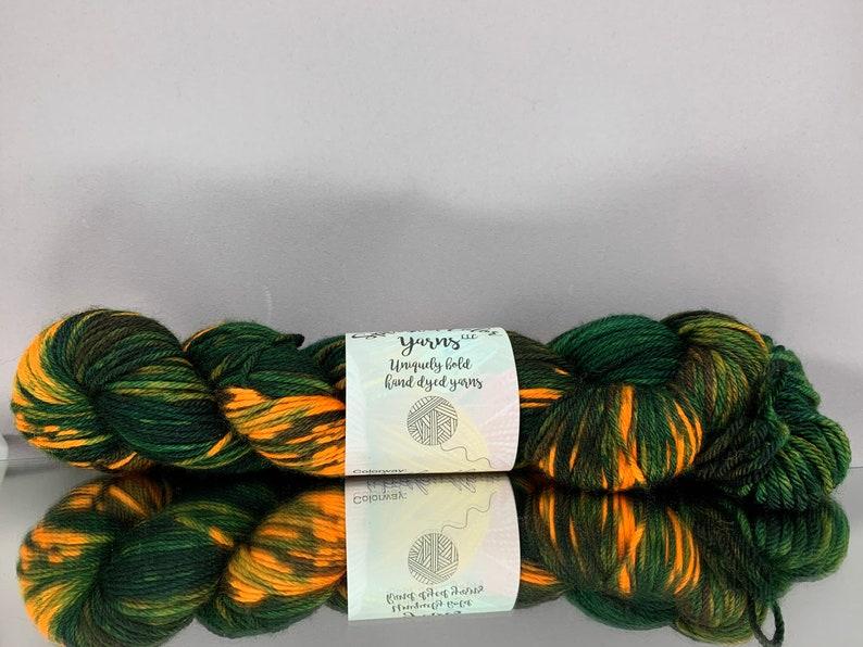 Hand dyed worsted/fingering yarn  Woodland Camo  safety image 0