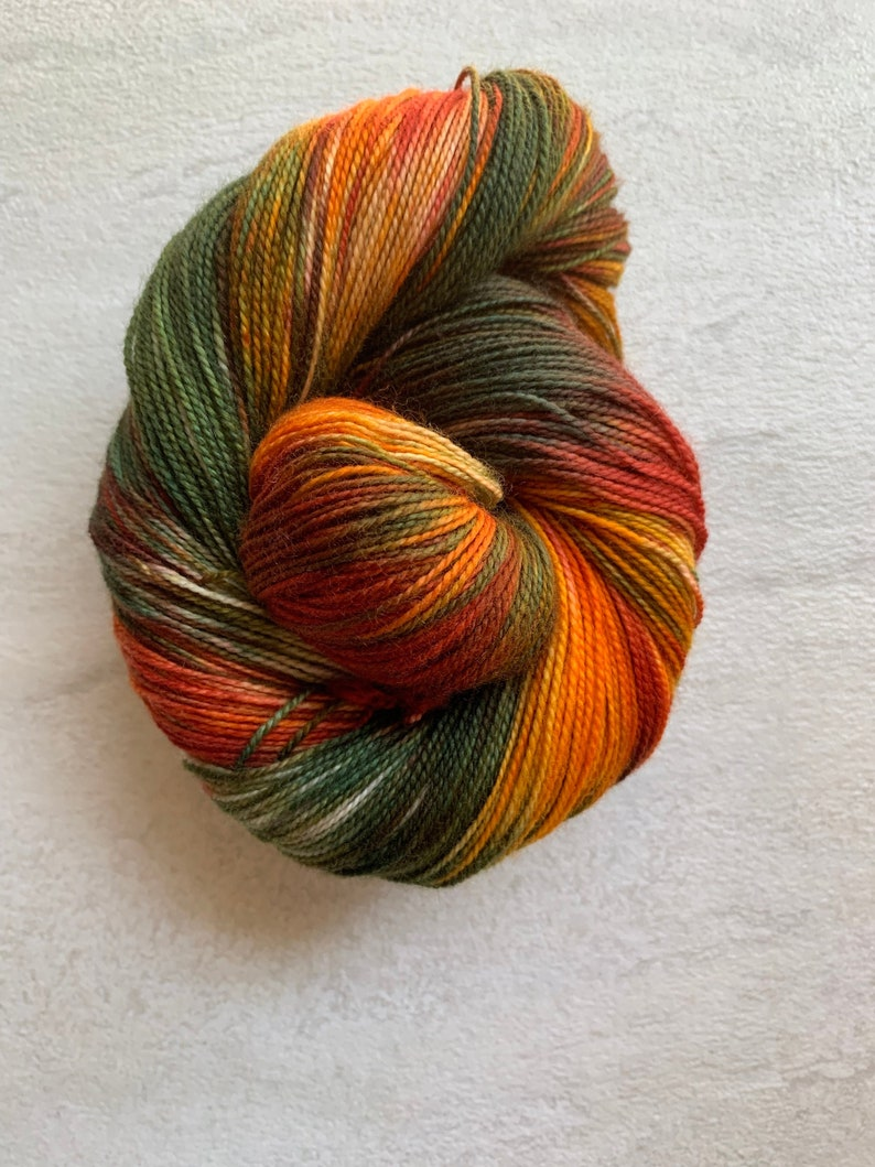 Hand dyed yarn fingering/DK/Worsted  Fall Splendor  green image 0