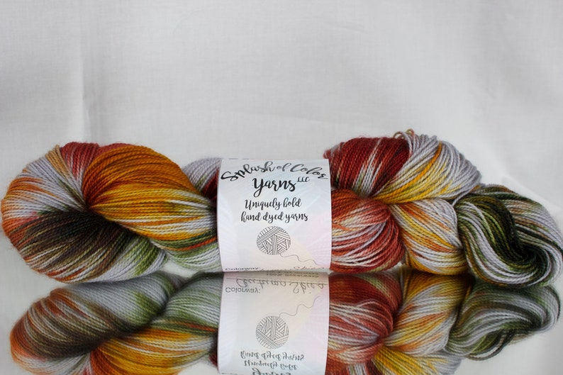 Hand dyed yarn fingering/DK/Worsted  Autumn Skies  gray image 0