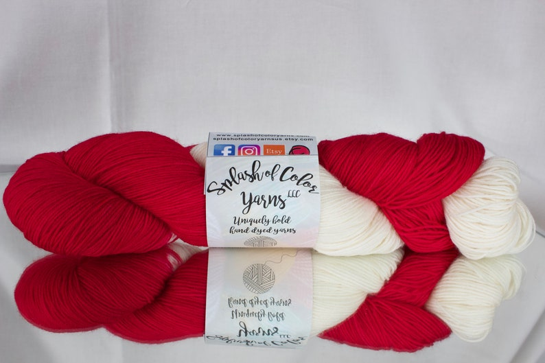Hand dyed Worsted/DK/Fingering yarn  Hat Trick  Detroit Red image 0