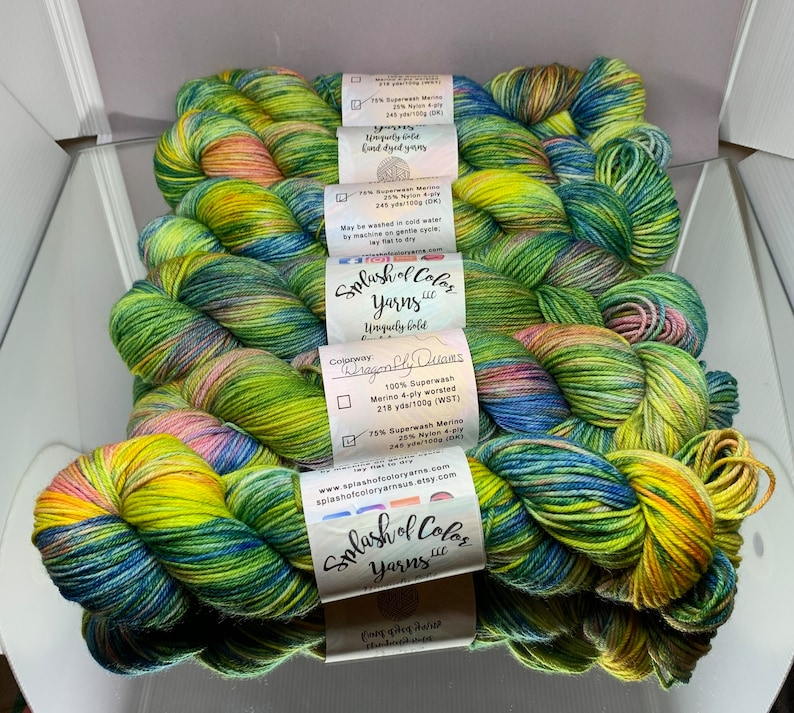Hand dyed DK yarn  Dragonfly Dreams  green blue pink image 0