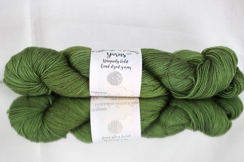 Hand dyed Worsted/DK/Fingering yarn  Garden Gnome Green  image 0