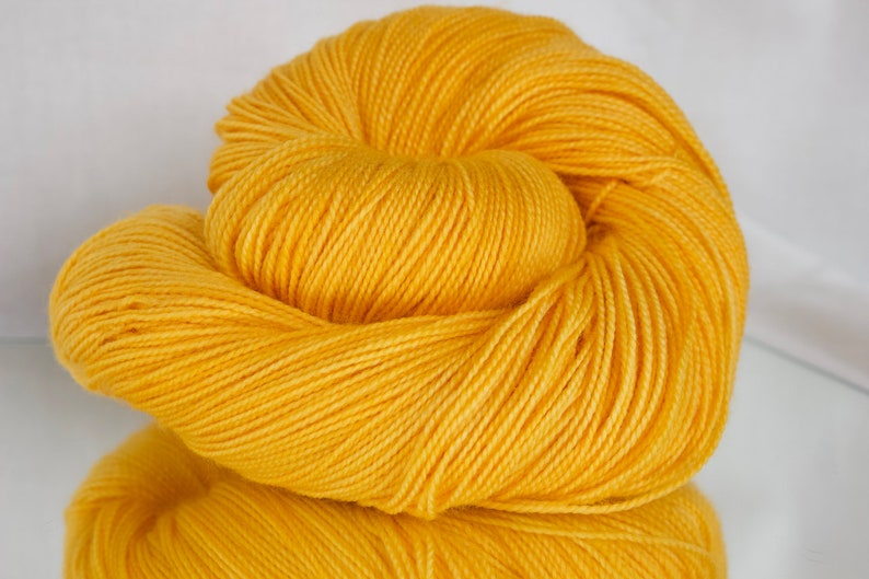 Hand dyed Worsted/DK/Fingering yarn  Autumn Gold image 0