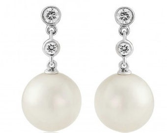 18ct White Gold Diamond and Pearl Earrings