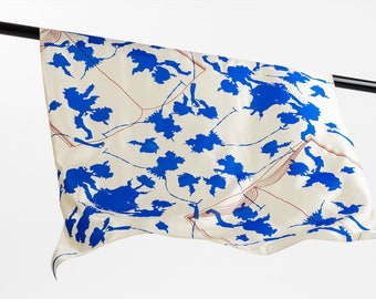 "silk scarf ""Tintenteufel"" - artistic formed foulard, square, 120 x 120 cm, hand-printed on high-grade, heavy silk, exclusive edition"