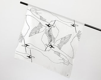 "Silk scarf ""Schwäne"", white, square, 70 x 70 cm"