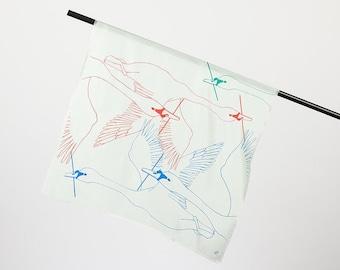 "Silk scarf ""Schwäne"", mint, square, 55 x 55 cm"