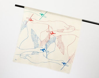 """Silk scarf """"Flamingos"""" - artistic formed foulard, square, 70 x 70 cm, hand-printed on twill and Pongée silk, exclusive edition"""