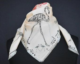 "Silk scarf ""Flamingos"" - apricot, square, 70 x 70 cm,"