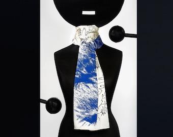 """silk scarf """"Stille Wasser – Wilde Wogen"""" - artistic formed scarf, 190 x 43 cm, handprinted on high-grade silk, exclusive edition, foulard"""