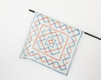 """Silk scarf """"Mäander"""", grey, square, 70 x 70 cm"""