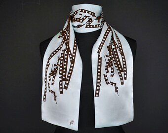 """Small silkscarf """"Tracks"""", special edition, 150 x 18 cm, handprinted on high-quality-silk, scarf, double-layed"""