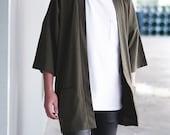 Men 39 s Olive Green Japan Kimono Cardigan, Man Noragi Coat, Unisex Oversized Street Haori Jacket, Fall Streetwear, Loose Style Yukata Overcoat