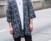 Men 39 s Gray Plaid Japan Kimono Cardigan, Tartan Noragi Jacket, Oversized Street Haori Coat, Unisex Streetwear, Loose Style Yukata Overcoat