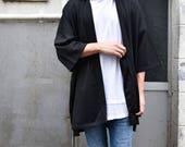 Men 39 s Long Black Kimono Cardigan, Japan Oversized Noragi Jacket, 4 Pockets Coat, Textured Anti Wrinkle Fabric, One Size Street Haori Yukata