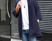 Men 39 s Long Navy Kimono Cardigan, Japan Oversized Noragi Jacket, 4 Pockets Coat, Textured Anti Wrinkle Fabric, One Size Street Haori Yukata