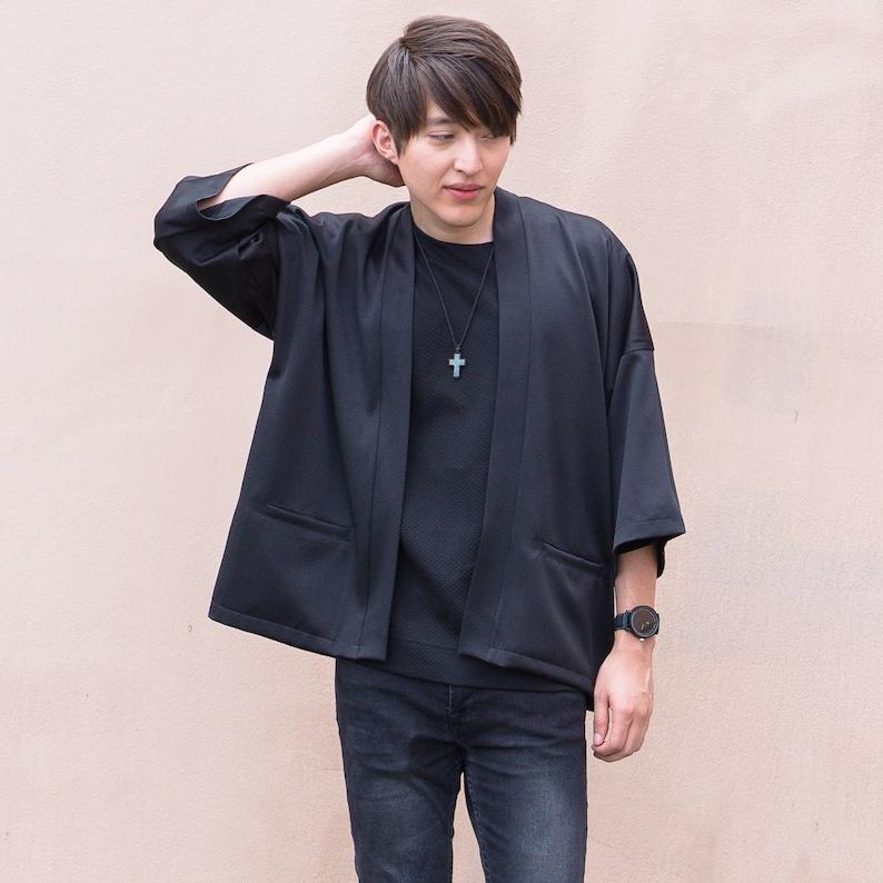 Men's Black Japan Kimono Cardigan Man Noragi Coat image 0