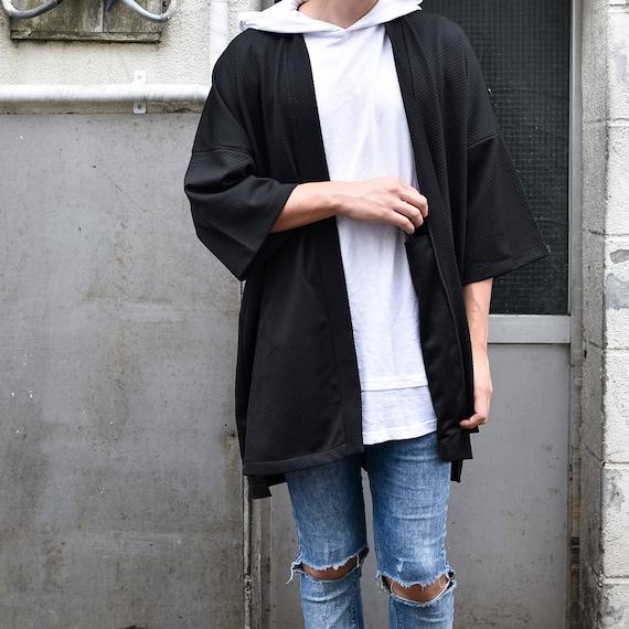Yukata Anti Wrinkle Textured Size Street Pockets Haori Noragi Long Fabric Black Oversized 4 Coat Japan Men's One Cardigan Kimono Jacket 4WHqO7Pw