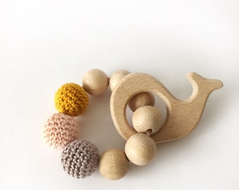 Wooden Bite Toy Whale