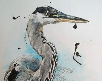 Mixed Media Crane Drawing Print 8X10