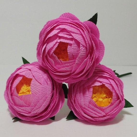 3 Krepp Papier Blumen Rosa Krepppapier Pfingstrose Flore De Etsy
