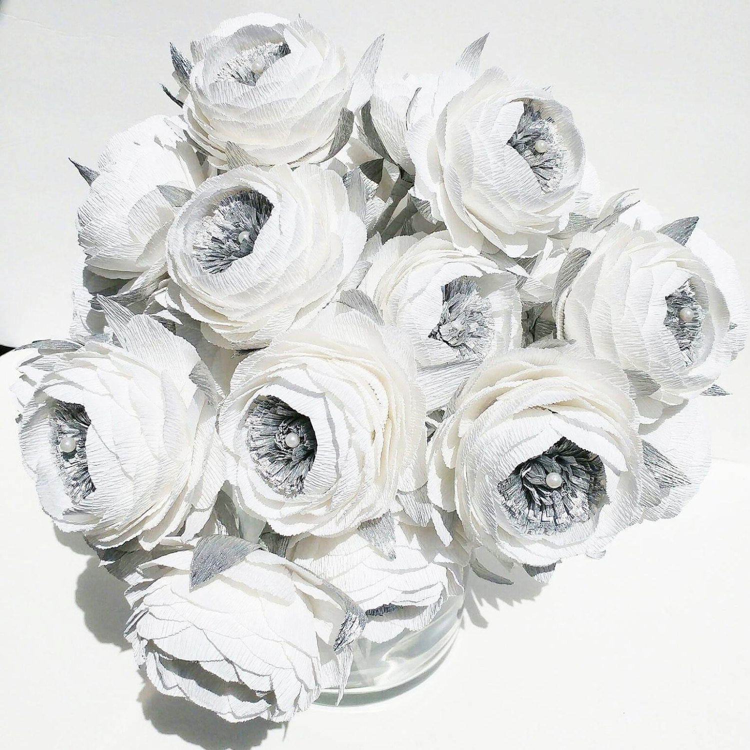 6 Crepe Paper Flowers Silver White Peonies Wedding Bouquet Etsy