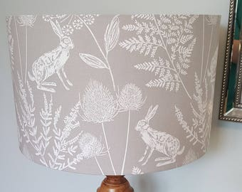 Grey Hare Drum Lampshade - handmade lamp shades in 3 sizes!