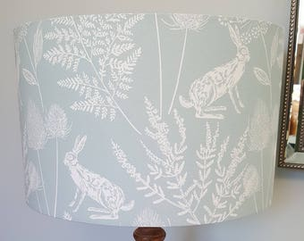 Blue Hare Drum Lampshade - handmade lamp shades in 3 sizes!