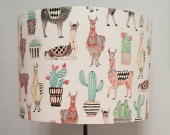 Llama and Cactus Drum Lampshade - handmade lamp shades in 2 sizes!