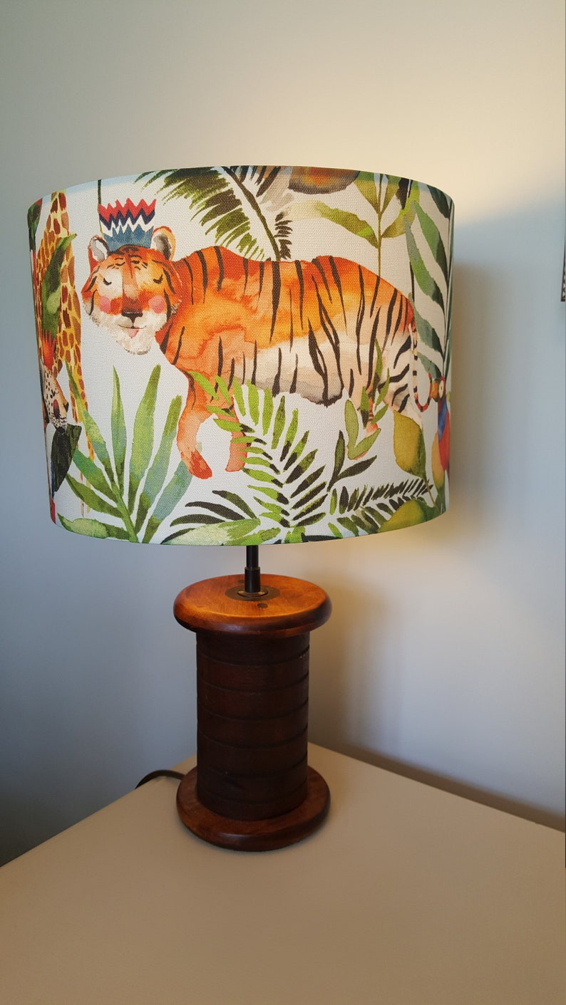 King of the Jungle: Tiger  Drum Lampshade  handmade lamp image 0