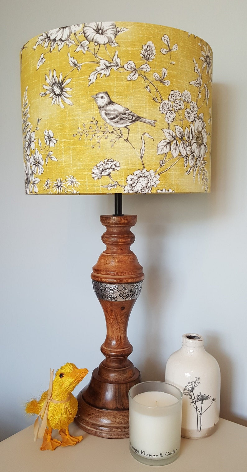 Mustard Finch Toile Drum Lampshade  handmade lamp shades in 3 image 0