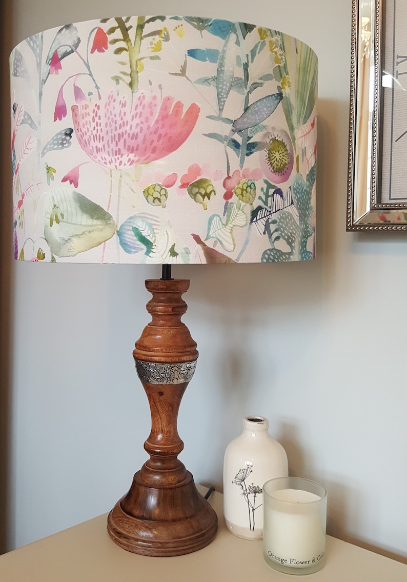 June Blossom fabric by Voyage  Drum Lampshade  handmade lamp image 0